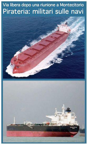 Pirateria: militari sulle navi