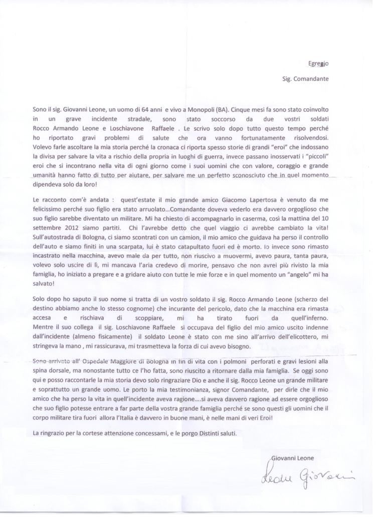Lettera aperta di ringraziamento del Signor Giovanni Leone al Comandante della Brigata Pinerolo il Generale Carlo Lamanna.