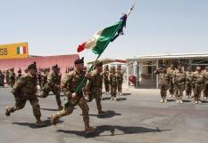 02. la bandiera del 6° bersaglieri sfila lo schieramento del picchetto d'onore