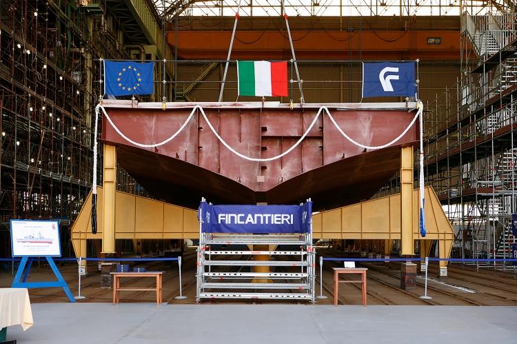 """Stabilimento Fincantieri di Riva Trigoso (Genova), la cerimonia per l'impostazione del primo blocco della nave """"Luigi Rizzo"""", sesta unità del programma FREMM."""