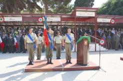 da sx colonnello mauro Sindoni, bandiera con alfiere e colonnello antonino Poma